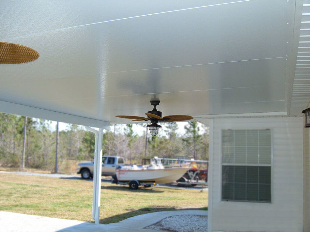 Patio cover with ceiling fans