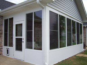 Sunroom with conventional roof